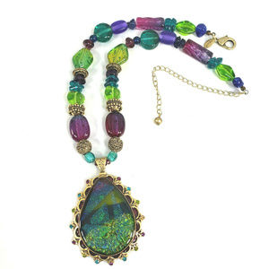 Chico's Green Purple Foil Necklace Glass & Acrylic